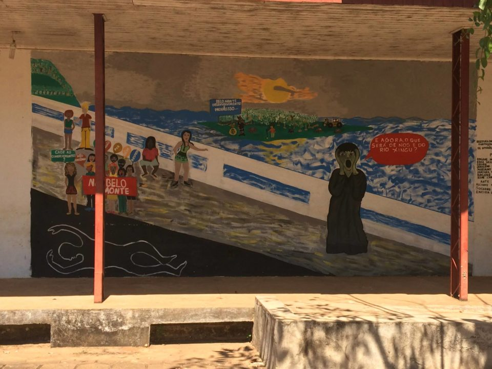 A mural on a wall in the city of Altamira protesting the Belo Monte Dam in Brazil